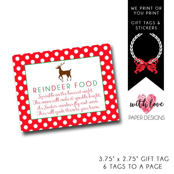 reindeer food gift tagdownload christmas gift tag from etsy