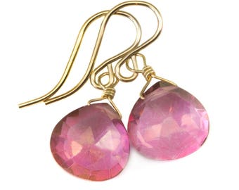 SALE 25/% OFF Pink Topaz Faceted Cushion Cut 45.55cts and 14K Solid Yellow Gold 3mm Ball Head Bead Earwires