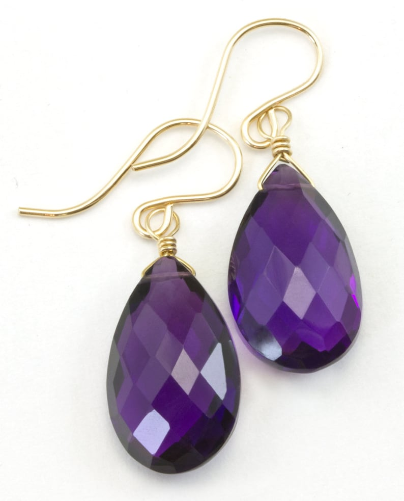 Purple Amethyst Earrings Simulated Faceted Puffed Teardrop 14k Solid Gold or Filled or Sterling Silver Deep Rich Purple Large Classic Drop