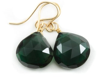 Green Smoky Quartz Earrings Heart  Briolette Smokey Dark Forest Green Drops 14k Gold Filled or Sterling Silver Unique Color Classic Simple