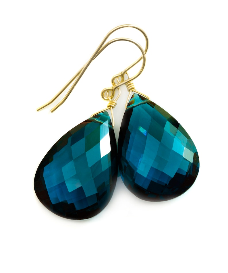London Blue  Sim Topaz Earrings Large Faceted Briolette  Drops Sterling Silver or 14k Solid Gold or Filled Simple Classic Topaz Hot Teal