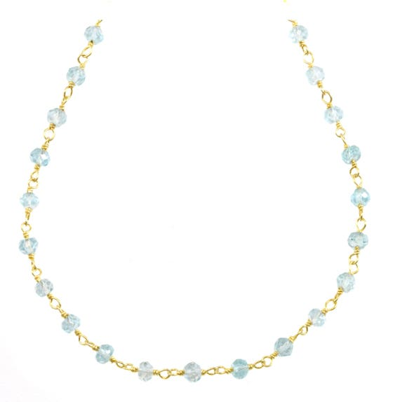 14K Yellow Gold 3.5-4mm Simulated Gemstones Necklace for Women 18 inch
