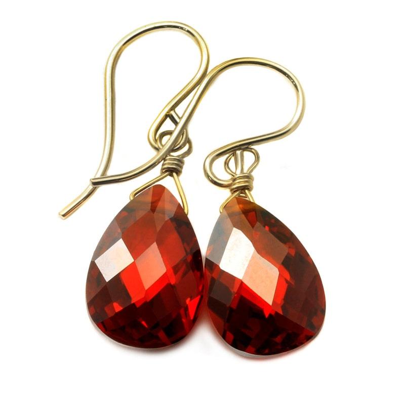 New 9K White Gold Filled Garnet Red CZ Pear Shaped Tear Drop Dangle Earrings