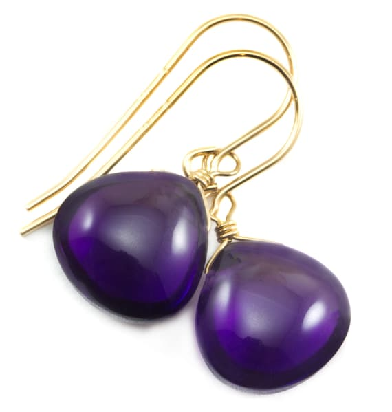 Purple Amethyst Earrings Smooth Pear Natural 14k Solid Gold or Filled or Sterling Silver Teardrop Rich Deep Purple Large Long