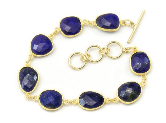 Or 14k lapis lazuli Boucles d/'oreilles bleu à facettes larmes Pyrite lunette simple Goutte