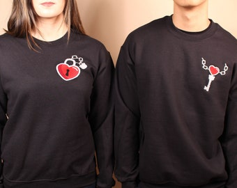 49197eadc73e2 Key to My Heart Set - Lock   Key Pair Embroidered Unisex Crewneck Sweater -  Black