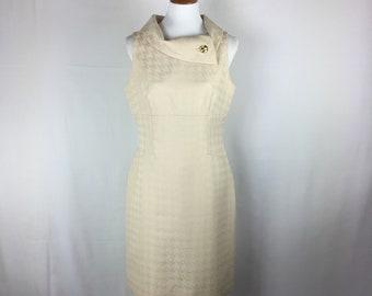 02f29336c08b 90's Vintage Tahari Arthur S. Levine Cream Hoodstooth Sleeveless Lined Dress