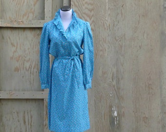 1980s Turquoise Ruffle Neck Secretary Dress