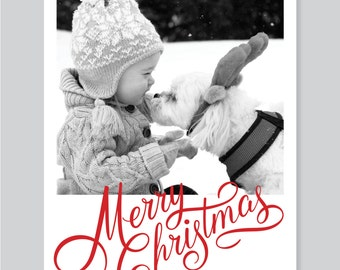 Christmas Card, Custom Photo Christmas Card, Holiday Card, Merry Christmas, Digital File