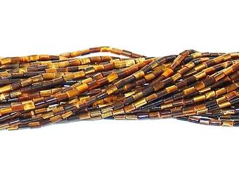 Pcs Handcut Gemstones Crafts Tiger Eye Plain Tube Beads 11-15mm Yellow//Brown 20