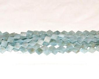 """Aquamarine 10mm Diamond Gemstone Beads - 15.75"""" Strand"""