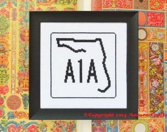 Florida Cross Stitch Pattern - Highway Road Sign PDF