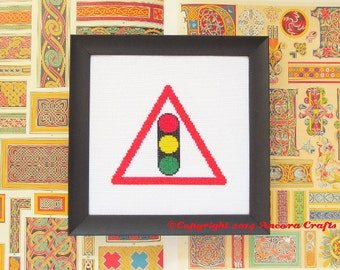 Stop Light Road Sign Cross Stitch Kit