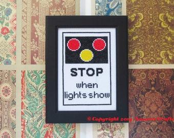 Railroad Crossing Road Sign Cross Stitch Pattern PDF