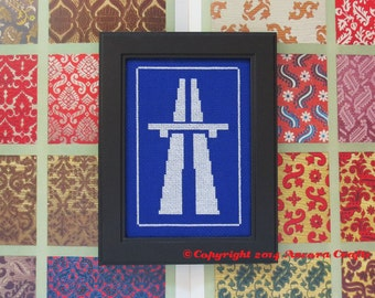 Motorway Highway Autovia Road Sign Cross Stitch Pattern PDF