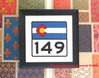 Colorado Cross Stitch Pattern - Highway Road Sign PDF