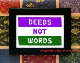 Suffragette Deeds not Words Cross Stitch Pattern PDF