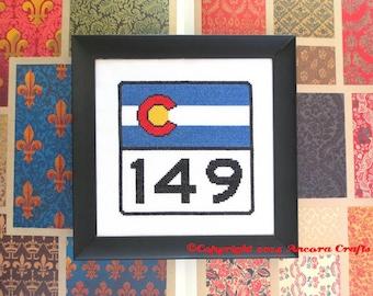 Colorado Highway Road Sign Cross Stitch Kit
