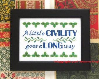 Civility Cross Stitch Pattern PDF