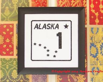 Alaska Highway Road Sign Cross Stitch Pattern PDF