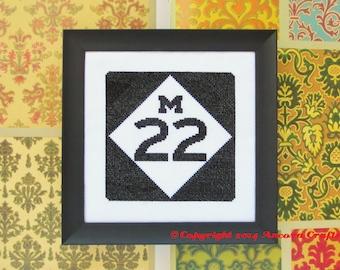 Michigan Cross Stitch Pattern - Highway Road Sign PDF
