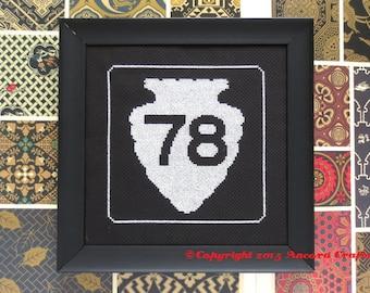 Montana Cross Stitch Pattern - Arrowhead Road Sign PDF