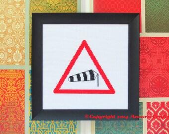 High Wind Road Sign Cross Stitch Kit