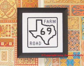 Texas Cross Stitch Pattern - Farm Road Sign PDF