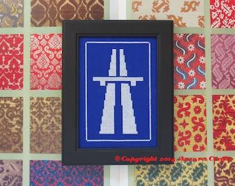Autovia (Motorway Highway) Road Sign Cross Stitch Kit