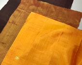 Recycled (lot C) Sari Silk Fabric Squares 3 Piece Fiber Beads Boho Junk Journal Quilt Jewelry Decoupage Textile Fiber Art Supply