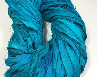 Recycled Sari Silk Ribbon Deep Turquoise