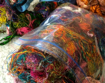 1 oz Sari Silk Threads w/Ribbon Pieces Free Shipping Journal Mixed Media Felting Spinning Silk Paper Batt Fiber Supply Textile Art Supply