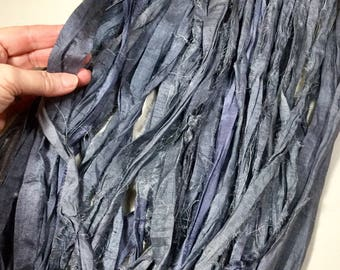 10 yd Recycled Sari Silk Ribbon Pewter Gray Tassel Silk Sari Wrap Bracelet Eco Gift Wrap Jewelry Felt Knit Crochet Fiber Art Supply