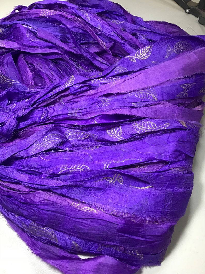 Recycled Sari Silk Ribbon Hand Block Purple with Gold Stamp Leaf Tassel Bow Ribbon Free Shipping Jewelry Fair Trade Fiber Art Supply