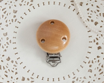 Round Pacifier Clip, Wooden Clip for Pacifier Chain, Dummy Holder Accessories, Natural Color