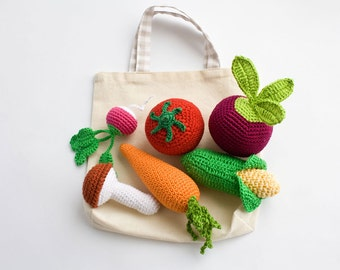 Crochet Vegetables Rattle Toys for Baby with Tote Bag, Pretend Play Food Set, Baby Shower Gift