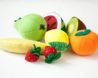 Felt fruit set of 8, play kitchen food, felt toy food for pretend play