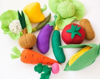 Felt vegetable set of 12, play kitchen food, felt toy food for pretend play