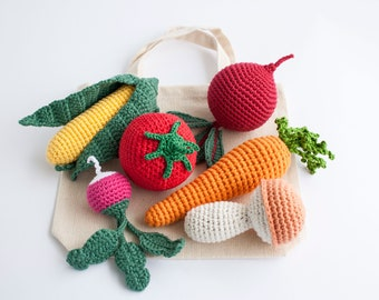 Crochet Vegetables Rattle Toys for Baby with Tote Bag, Pretend Play Food Set, Baby Shower Gift, Organic Cotton