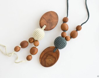 Silk & Wood, teething necklace, nursing necklace, teething beads, new mom gift, minimalist necklace, chewing necklace for adults