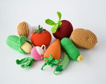 Kitchen Play Set - Crochet Vegetables wih a tote bag - Play Food, Pretend Play, Veggies Play Set, Baby Shower Gift