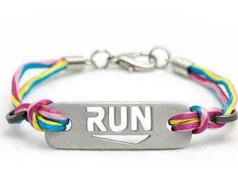 RUN - Running Bracelet: multicolor, black, & pink, ATHLETE INSPIRED, Running Jewelry, Run Bracelet, Gifts for Runners, Running Inspiration
