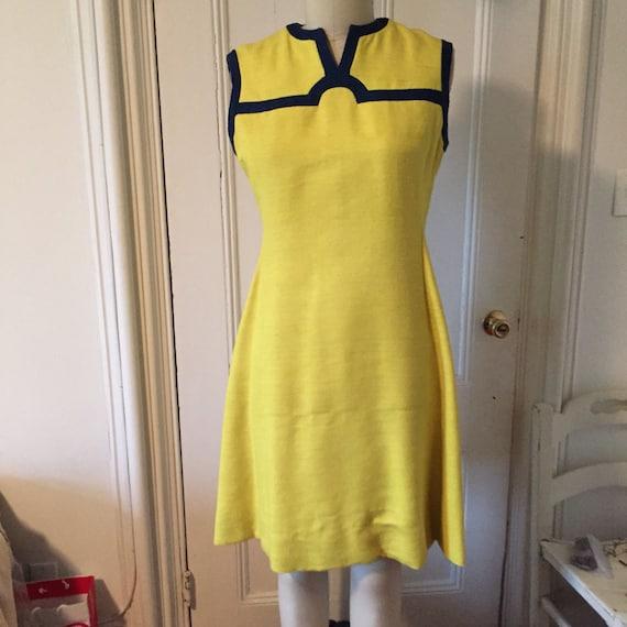 Bam! Bright yellow silk shantung dress, navy trim,