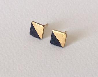 Porcelain square stud earrings- black, 24k gold dipped geometric studs, porcelain earrings square studs, earrings gift for girlfriend