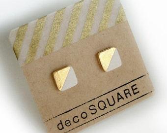 Square stud porcelain earrings- white, gold dipped, 24k gold filled, geometric studs, white earrings, minimalist studs, gift for her
