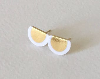 Half circle porcelain gold stud earrings- white, 24k gold filled, geometric white earrings, minimalist studs, gift for her