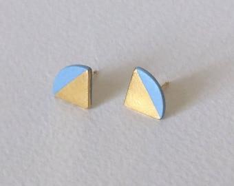 Porcelain quarter circle stud earrings- sky blue, 24k gold dipped, small geometric post earrings, porcelain studs, gift for her