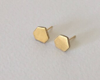 Geometric porcelain gold stud earrings- 24k gold filled, geometric earrings, minimalist studs, gift for her