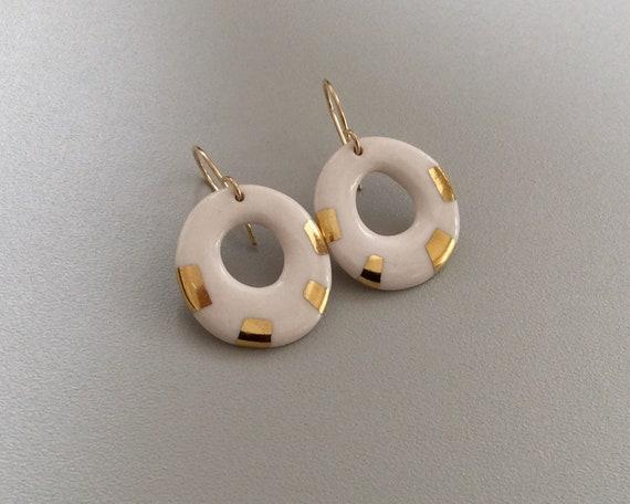 small round white leaf Dangle porcelain earrings porcelain long earrings gift jewelry gift for her 24k gold luster 14k goldfilled hooks