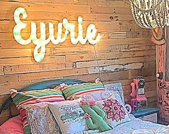 Marquee Sign Wood Letters Name Personalized Lighted Marquee Sign Name... Kids Room Personalized Wedding Gift Anniversary Marquee